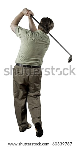 Man finishing his golf swing on a white background.