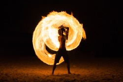 Man Fire Show on the beach ,Koh Kood ( Kood island ) THAILAND