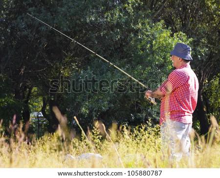 Man fishing in nature