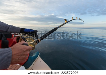 man fishing on a big game fishing trip
