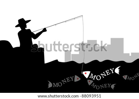 Man fishing the money fish in silhouette