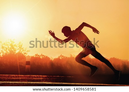 Man fitness silhouette sunrise jogging workout wellness concept. - Image