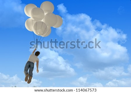 Man flies on the balloons in the sky.