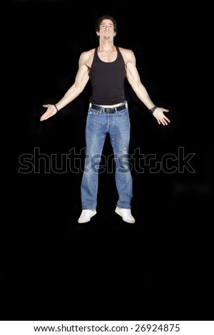 Man floating in angelic pose