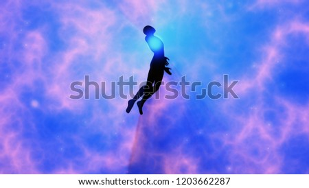 Man floating, rising into space , heavens. Astral plane. Silhouette. 3d rendering
