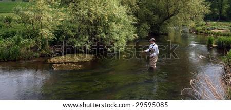 Man flyfishing the river Eden in Scotland