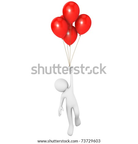 Man flying attached to red balloons - stock photo