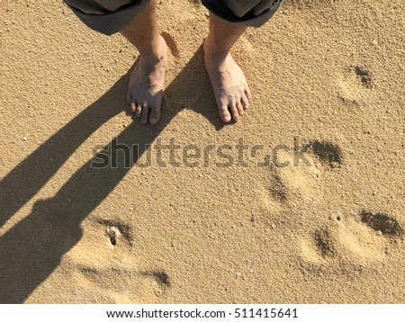 Man foots on the sand #511415641