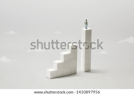man from the top of stairs observing the future; surreal concept