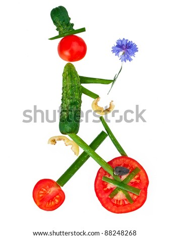 Man from vegetables isolated on white