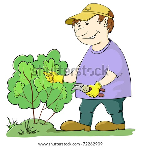 Man gardener works in a garden, cuts a bush with secateurs