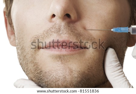 Man gets cosmetic injection. Beauty Treatment