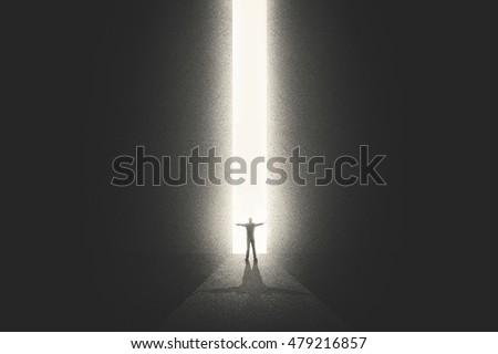 Man getting out from the darkness opening door