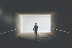 man getting out of dark alley, abstract concept