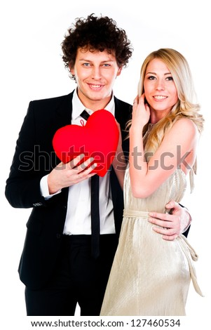 man gives a young and beautiful woman heart