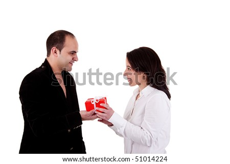 Man giving a gift to a woman, isolated on a white background