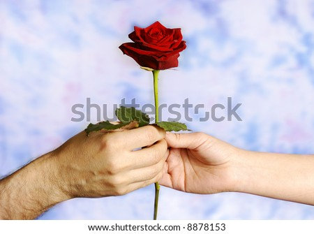 man giving a red rose to a woman as a symbol of love