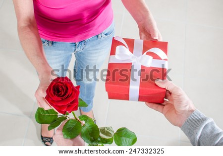 Man giving a rose and a gift to a woman for Valentine\'s day