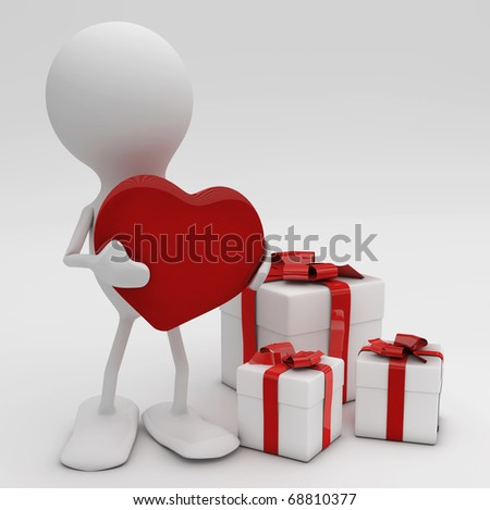 Man giving his heart. 3d rendered Celebrations concepts.