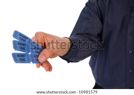 man giving some blue movie tickets on white