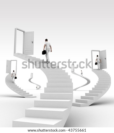 man goes on the stairs