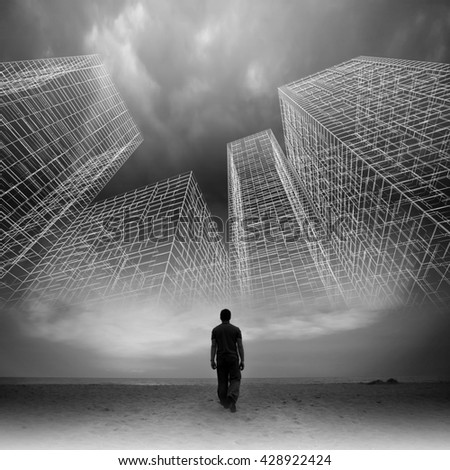 Man goes under dark cloudy sky with abstract wire frame structures, black and white collage photo mixed with digital 3d illustration #428922424