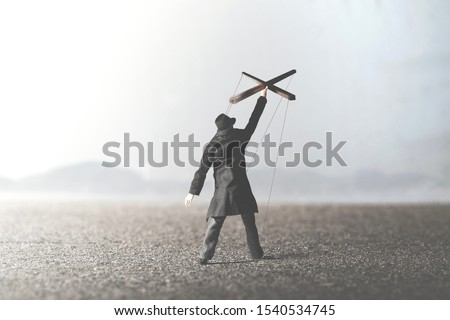 man guided by himself surreal abstract concept