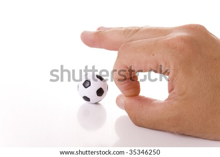 Man hand and soccer ball isolated on white background