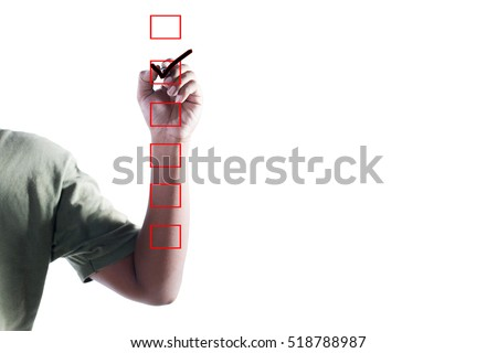 Man Hand Checking the Checking Box on white background.