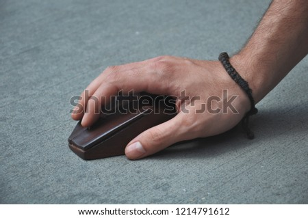 Man hand clicking computer mouse #1214791612