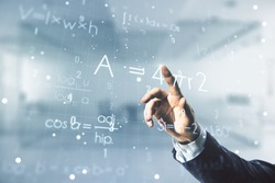 Man hand clicks on scientific formula illustration on blurred office background, science and research concept. Multiexposure