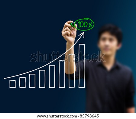 man hand drawing a chart isolated