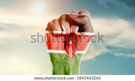 Man hand fist of Kenya flag painted ストックフォト ©