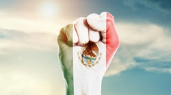 Man hand fist of Mexico flag painted