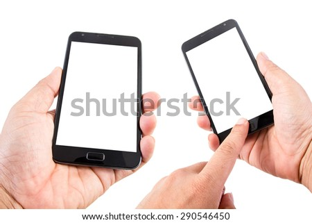 Man hand hold blank touch screen smart phone isolated on white background. #290546450