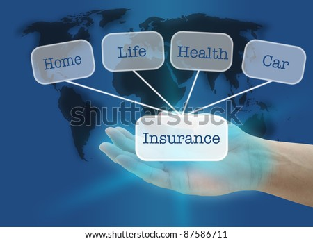 man hand hold Insurance business concept with world map background