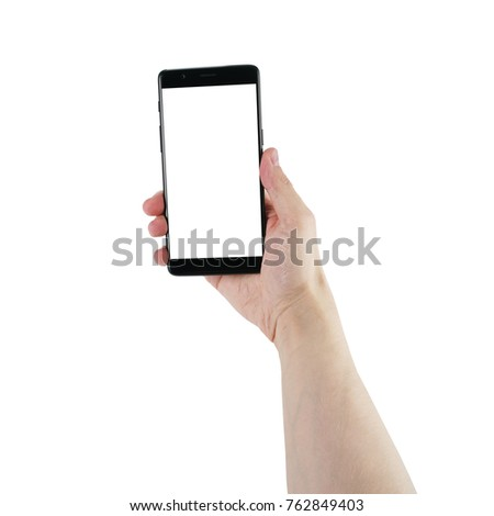 man hand hold smartphone with blank screen isolated on white #762849403