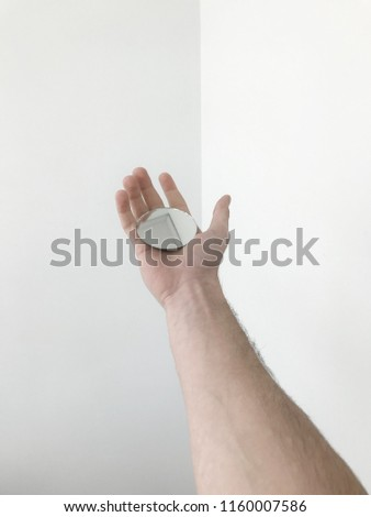 hand holding mirror. Man Hand Holding A Mirror On White. #1160007586 P
