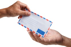 Man hand holding air mail envelope isolated on white background