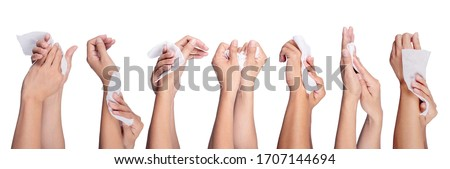 Man hand holding baby wet wipes isolated on white background.Concept is to wipe the hands clean.Set of Many steps to wipe hands.