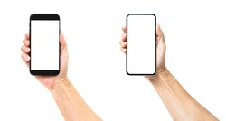 Man hand holding black smartphone isolated on white background, clipping path