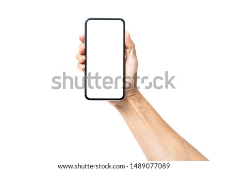 Photo of  Man hand holding black smartphone isolated on white background, clipping path