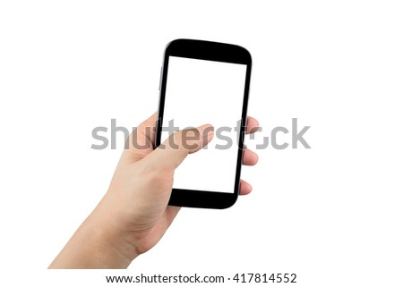 man hand holding black smartphone with blank screen isolated on white background with clipping path #417814552