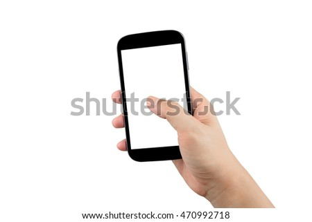 man hand holding black smartphone with blank screen isolated on white background with clipping path #470992718