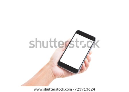 Man hand holding blank screen mobile phone isolated on white background; clipping path #723913624