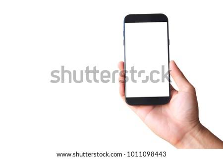Man hand holding blank smart phone on white background #1011098443