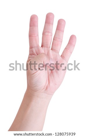 Man hand holding four fingers. On a white background.