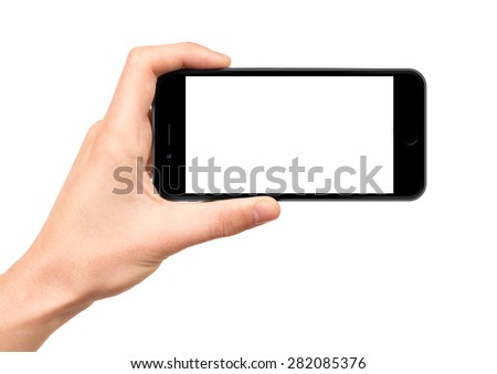 Man hand holding horizontal the black smartphone with blank screen, isolated on white background.