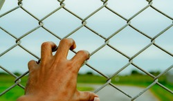 Man hand holding metal chain link fence. Refugee and immigrant concept. Life and freedom. Anguish, gloom, and persecution feeling. Man hand grabbing cage or camp fence. Prison fence. Barrier border.