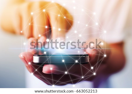 Man hand holding mobile phone with map point, Social network business connection concept #663052213